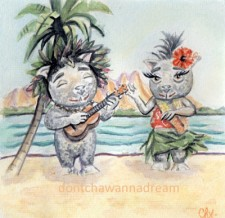 Vanille & Coco playing a Ukulele by Cha