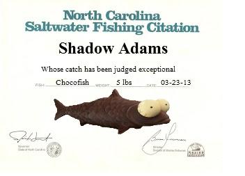 Shadow's Fishing Citation by Debbie Adams