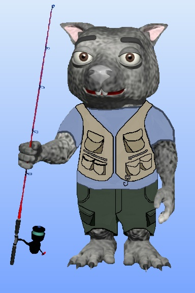 Shadow with his fishing vest by Debbie Adams