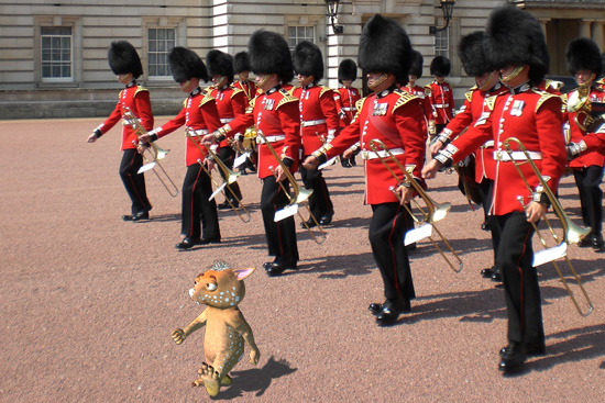 Fraz marching with the Buckingham Palace Guards