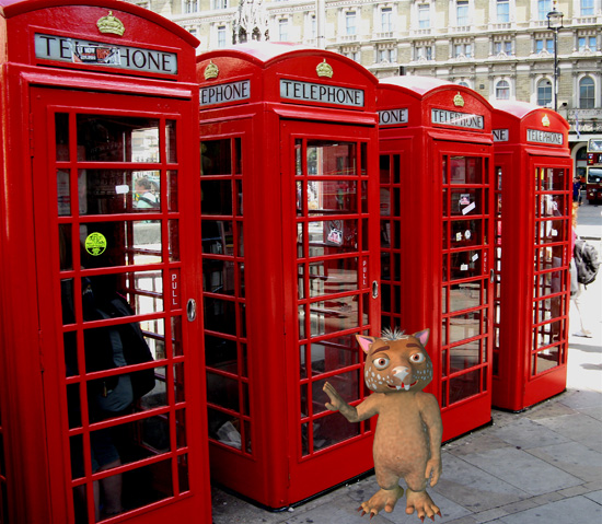Fraz at some red London phone booths