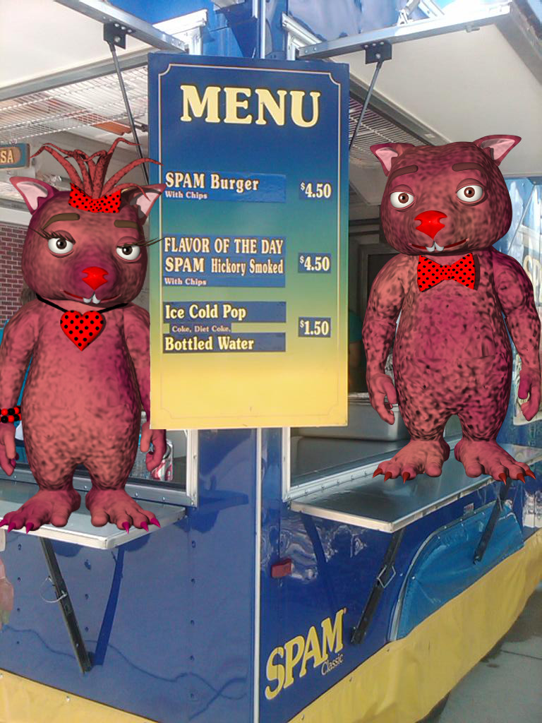 Claret and Bruno with the menu from the Spammobile